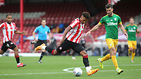 Ollie Watkins of Brentford gets ready to take a shot at the Preston North End goal during Brentford vs Preston North End, Sky Bet EFL Championship Football at Griffin Park on 15th July 2020