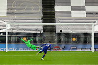 29th September 2020; Tottenham Hotspur Stadium, London, England; English Football League Cup, Carabao Cup, Tottenham Hotspur versus Chelsea; The penalty by Mason Mount of Chelsea clips the post and goes wide as Tottenham Hotspur win the game