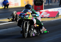 Sept. 2, 2011; Claremont, IN, USA: NHRA pro stock motorcycle rider Shawn Gann during qualifying for the US Nationals at Lucas Oil Raceway. Mandatory Credit: Mark J. Rebilas-