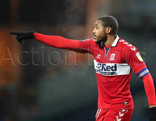 3rd November 2020; Ewood Park, Blackburn, Lancashire, England; English Football League Championship Football, Blackburn Rovers versus Middlesbrough; Britt Assombalonga of Middlesbrough makes a point to a team mate