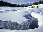 Sawtooth National Recreation Area, ID<br /> Open ice & snow covered banks of the Big Wood River w/ distant Sawtooth Mts