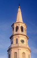 AJ1577, Charleston, South Carolina, The steeple of St. Michael's Episcopal Church rises 186 feet above the street in downtown Charleston, South Carolina.