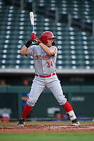 AZL Reds Yassel Pino (34) at bat during an Arizona League game against the AZL Cubs 2 on July 23, 2019 at Sloan Park in Mesa, Arizona. AZL Cubs 2 defeated the AZL Reds 5-3. (Zachary Lucy/Four Seam Images)