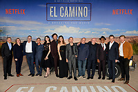 """LOS ANGELES, USA. October 08, 2019: Ted Sarandos, Cindy Holland, Vince Gilligan, Charles Baker, Krysten Ritter, Matt Jones, Betsy Brandt, Aaron Paul, Dean Norris, Jonathan Banks, Giancarlo Esposito, Bryan Cranston & Jesse Plemons at the premiere of """"El Camino: A Breaking Bad Movie"""" at the Regency Village Theatre.<br /> Picture: Paul Smith/Featureflash"""