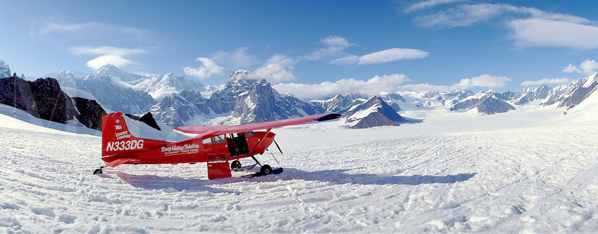 Ski plane on Ruth Glacier below Mt. McKinley - Denali. Talkeetna Alaska United States Mt. McKinley - Ruth Glacier.