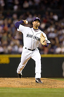 July 5, 2008: Seattle Mariners righthander Miguel Batista throws in relief against the Detroit Tigers at Safeco Field in Seattle, Washington.