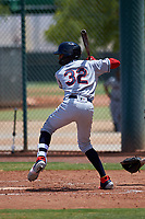 AZL Indians Red Jordan Brown (32) at bat during an Arizona League game against the AZL Indians Blue on July 7, 2019 at the Cleveland Indians Spring Training Complex in Goodyear, Arizona. The AZL Indians Blue defeated the AZL Indians Red 5-4. (Zachary Lucy/Four Seam Images)