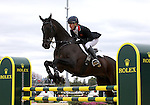 Kristina Cook and Miners Frolic of Great Britain compete in the final stadium jumping round of the FEI  World Eventing Championship at the Alltech World Equestrian Games in Lexington, Kentucky.