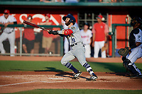 Burlington Bees Alvaro Rubalcaba (19) at bat during a Midwest League game against the Lansing Lugnuts on July 18, 2019 at Cooley Law School Stadium in Lansing, Michigan.  Lansing defeated Burlington 5-4.  (Mike Janes/Four Seam Images)