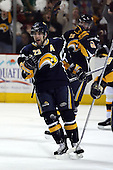 February 17th 2007:  Chris Drury (23) of the Buffalo Sabres celebrates his goal as Thomas Vanek (26) joins in vs. the Boston Bruins at HSBC Arena in Buffalo, NY.  The Bruins defeated the Sabres 4-3 in a shootout.