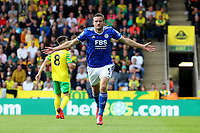 28th August 2021; Carrow Road, Norwich, Norfolk, England; Premier League football, Norwich versus Leicester; Jamie Vardy of Leicester City celebrates his goal for 0-1