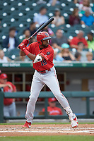 Narciso Crook (19) of the Louisville Bats at bat against the Charlotte Hornets at BB&T BallPark on June 22, 2019 in Charlotte, North Carolina. The Hornets defeated the Bats 7-6. (Brian Westerholt/Four Seam Images)