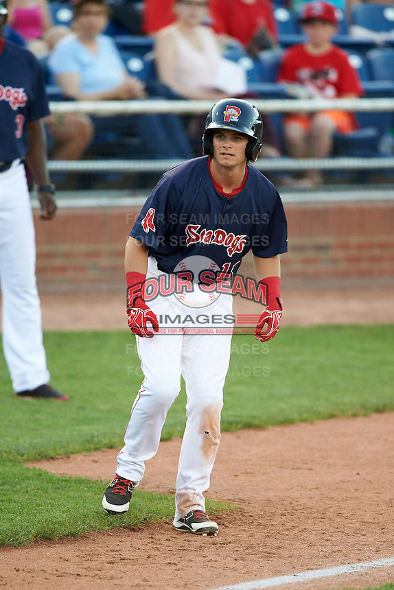 Portland Sea Dogs designated hitter Andrew Benintendi (18) leads off third in the bottom of the fifth inning during a game against the Reading Fightin Phils on May 31, 2016 at Hadlock Field in Portland, Maine.  Reading defeated Portland 6-4.  (Mike Janes/Four Seam Images)