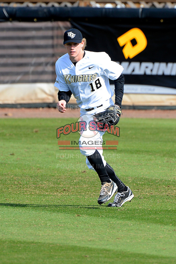 Central Florida Knights outfielder Bo Decker #18 during practice before a game against the Siena Saints at Jay Bergman Field on February 16, 2013 in Orlando, Florida.  Siena defeated UCF 7-4.  (Mike Janes/Four Seam Images)