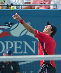 Carlos Berlocq (ARG) loses to Roger Federer (SUI) at the US Open being played at USTA Billie Jean King National Tennis Center in Flushing, NY on August 29, 2013