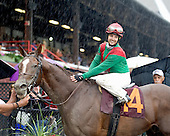 Jockey Maylan Studart won her first race at Saratoga, steering Aquino to victory in the 8th race on Sunday for trainer Rick Violette.