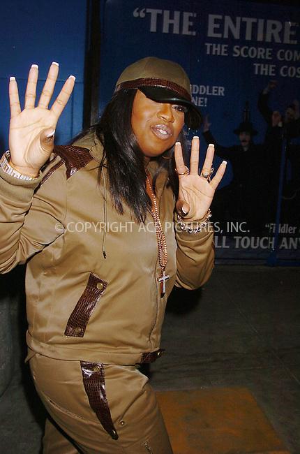 WWW.ACEPIXS.COM . . . . .  ....April 19 2006, New York City....Hip Hop star Missy Elliott paid a visit to MTV's TRL show in Times Square, New York City.....Please byline: AJ Sokalner - ACEPIXS.COM.... *** ***..Ace Pictures, Inc:  ..(212) 243-8787 or (646) 769 0430..e-mail: picturedesk@acepixs.com..web: http://www.acepixs.com