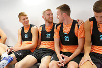 (L-R) Jay Fulton, Oliver McBurnie and Ryan Blair prepare for the pitch during the Swansea City Training Session at The Fairwood Training Ground, Wales, UK. Tuesday 03 July 2018
