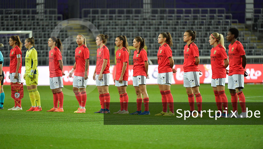 team of benfica with Benfica's defender Silvia Rebelo  -  Benfica's goalkeeper Carolina Dias  -  Benfica's defender Carole Costa  -  Benfica's forward Nycole Raysla Silva Sobrinho  -  Benfica's forward Nycole Raysla Silva Sobrinho  -  Benfica's midfielder Pauleta  -  Benfica's defender Catarina Amado  -  Benfica's midfielder Andreia Faria  -  Benfica's defender Ana Seica  -  Benfica's midfielder Ana Vitoria Kliemaschwsk Araujo  -  Benfica's forward Cloe Lacasse  -  Benfica's midfielder Christy Ucheibe    pictured during a female soccer game between RSC Anderlecht Dames and Portugese Benfica Ladies  in the second qualifying round for the Uefa Womens Champions League of the 2020 - 2021 season , Wednesday 18 th of November 2020  in ANDERLECHT , Belgium . PHOTO SPORTPIX.BE | SPP | DIRK VUYLSTEKE