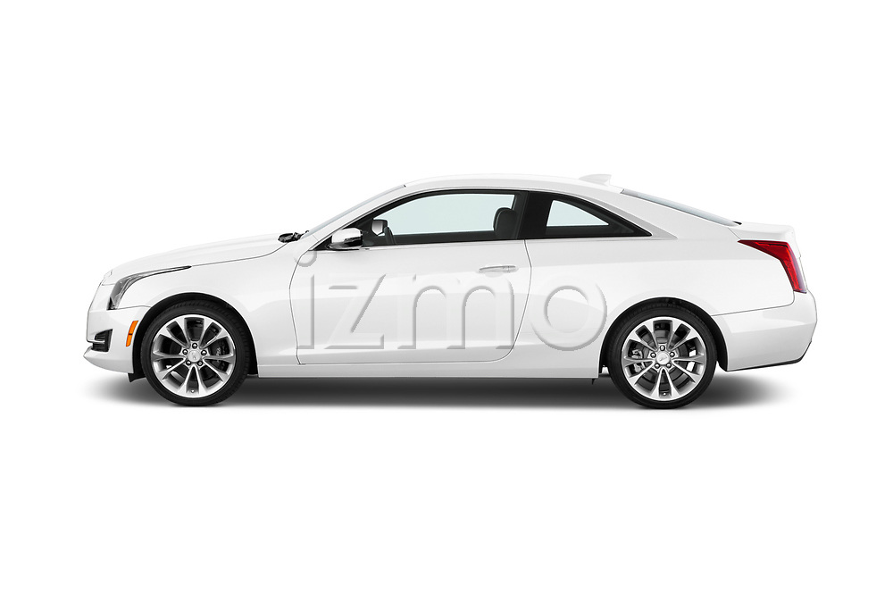 Car Driver side profile view of a 2015 Cadillac ATS 2.0 RWD Premium 2 Door Coupe Side View