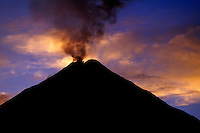 The Arenal Volcano at sunrise from the Tabacon Hot Springs Resort and Spa, Costa Rica