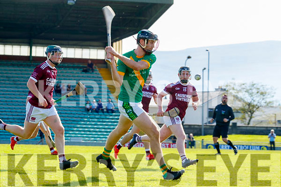 James Godley, Kilmoyley in action against Billy Lyons, Causeway during the Kerry County Senior Hurling Championship Final match between Kilmoyley and Causeway at Austin Stack Park in Tralee