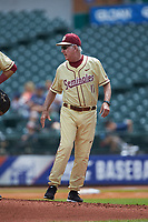 Florida State Seminoles head coach Mike Martin Sr. (11) has some final words as he walks off the mound during the game against the North Carolina Tar Heels in the 2017 ACC Baseball Championship Game at Louisville Slugger Field on May 28, 2017 in Louisville, Kentucky. The Seminoles defeated the Tar Heels 7-3. (Brian Westerholt/Four Seam Images)