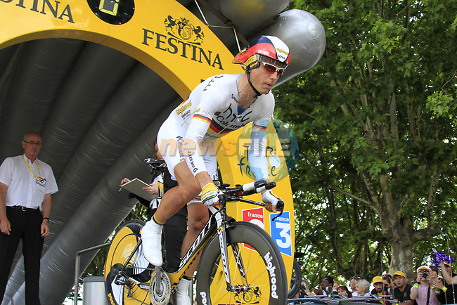German Champion Tony Martin (GER) HTC-Columbia powers off the start ramp of Stage 19 of the 2010 Tour de France an individual time trial running 52km from Bordeaux to Pauillac, France. 24th July 2010.<br /> (Photo by Eoin Clarke/NEWSFILE).<br /> All photos usage must carry mandatory copyright credit (© NEWSFILE | Eoin Clarke)