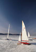 Ice sailing on Lake Pepin Mississippi River near Pepin Wisconsin.