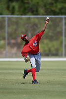 Washington Nationals Armond Upshaw (3) throws from the outfield during practice before a minor league Spring Training game against the St. Louis Cardinals on March 27, 2017 at the Roger Dean Stadium Complex in Jupiter, Florida.  (Mike Janes/Four Seam Images)
