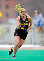 5 April 2008: University at Albany Great Danes' Attackman Stacey Brown, a Senior from East Islip, NY, in action against the University of Vermont Catamounts at Moulton Winder Field, in Burlington, Vermont. With only seconds left in regulation time, the Catamounts rallied to defeat the visiting Danes 11-10 in America East conference play...Mandatory Photo Credit: Ed Wolfstein Photo