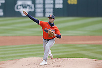 Auburn Joseph Gonzalez (45) throws a pitch, Saturday, April 3, 2021 during the first inning of a baseball game at Baum-Walker Stadium in Fayetteville. Check out nwaonline.com/210404Daily/ for today's photo gallery. <br /> (NWA Democrat-Gazette/Charlie Kaijo)