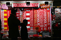 Scarves and memorabilia for sale outside Anfield<br /> <br /> Photographer Rich Linley/CameraSport<br /> <br /> UEFA Champions League Round of 16 Second Leg - Liverpool v Atletico Madrid - Wednesday 11th March 2020 - Anfield - Liverpool<br />  <br /> World Copyright © 2020 CameraSport. All rights reserved. 43 Linden Ave. Countesthorpe. Leicester. England. LE8 5PG - Tel: +44 (0) 116 277 4147 - admin@camerasport.com - www.camerasport.com