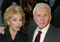 """**FILE PHOTO** Anne Douglas Has Passed Away.<br /> <br /> Kirk Douglas and wife Anne Buydens attend the premiere of """"It Runs in the Family"""" at Loews Lincoln Square in New York City on April 13, 2003.  <br /> CAP/MPI/HM<br /> ©HM/MPI/Capital Pictures"""
