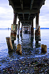 Abandoned naval pier at Fort Flagler State Park on Marrowstone Island in Washington State.  Admiralty Inlet, between the Strait of Juan de Fuca and Puget Sound lies offshore.  Fort Flagler was one of three gunnery forts protecting Puget Sound.  Now abandoned and used as a park.
