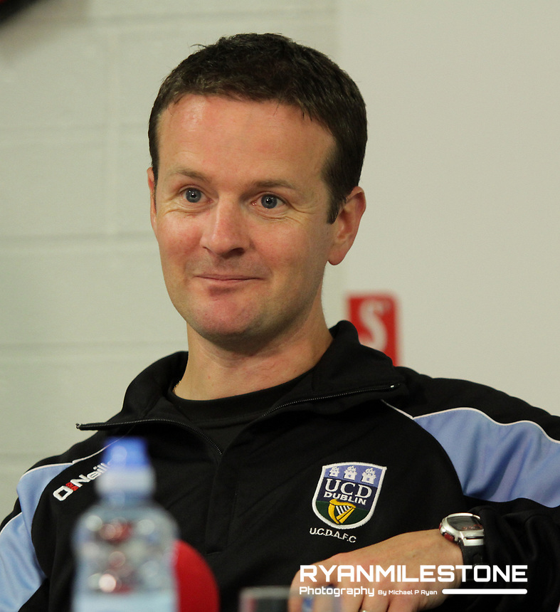 EVENT:<br /> UEFA Europa League, First Qualifying Round<br /> UCD v F91 Dudelange<br /> Thursday 2nd July 2015<br /> Belfield Bowl, Dublin<br /> <br /> CAPTION:<br /> UCD Manager Collie O'Neill in the press conference after the game.<br /> <br /> Photo By: Michael P Ryan