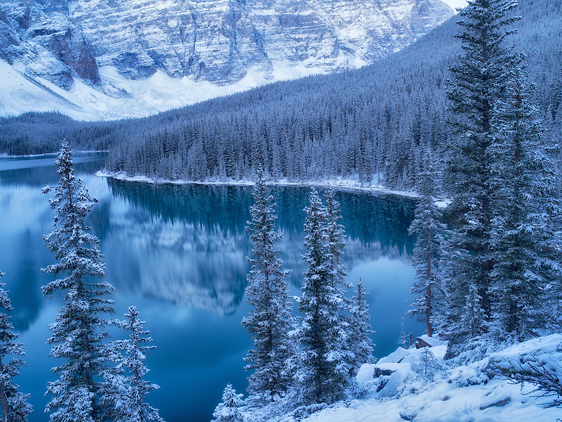 First snow of the season on Moraine Lake. Banff National Park, Alberta, Canada