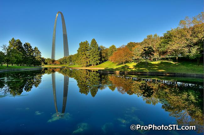 The Gateway Arch at Jefferson National Expansion Memorial Park in Saint Louis, Missouri.