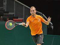 Swiss, Genève, September 14, 2015, Tennis,   Davis Cup, Swiss-Netherlands, practise Dutch team, Thiemo de Bakker<br /> Photo: Tennisimages/Henk Koster