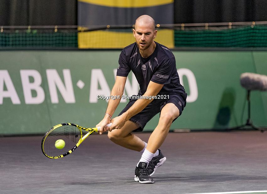 Rotterdam, The Netherlands, 2 march  2021, ABNAMRO World Tennis Tournament, Ahoy, First round :  Adrian Mannarino (FRA)<br /> Photo: www.tennisimages.com/henkkoster