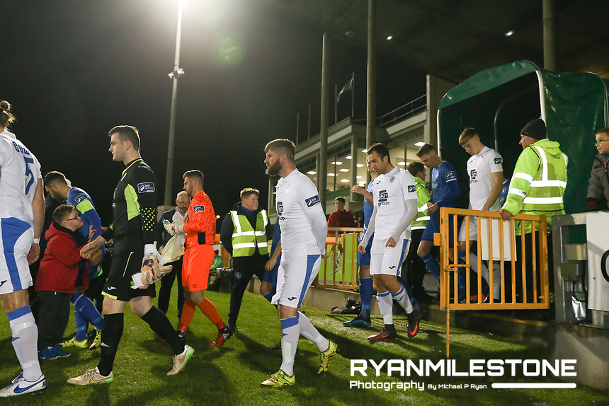 The teams enter the pitch ahead of the SSE Airtricity League Promotion / Relegation Play-off Final 2nd leg game between Limerick and Finn Harps on Friday 2nd November 2018 at Markets Field, Limerick. Mandatory Credit: Michael P Ryan.