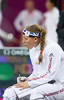 12 AUG 2012 - LONDON, GBR - Mhairi Spence (GBR) of Great Britain makes notes as she waits for her next match during the women's London 2012 Olympic Games Modern Pentathlon fencing at The Copper Box in the Olympic Park, in Stratford, London, Great Britain .(PHOTO (C) 2012 NIGEL FARROW)