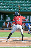 Angelo Castellano (13) of the Idaho Falls Chukars at bat against the Ogden Raptors in Pioneer League action at Lindquist Field on September 3, 2016 in Ogden, Utah. The Chukars defeated the Raptors 3-0. (Stephen Smith/Four Seam Images)