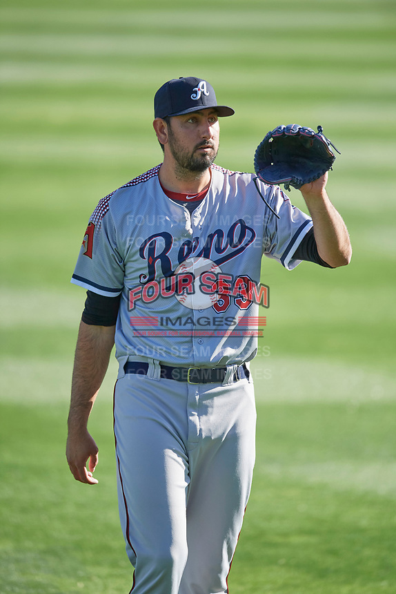 Reno Aces starting pitcher Justin Donatella (33) throws before the game against the Salt Lake Bees at Smith's Ballpark on May 8, 2021 in Salt Lake City, Utah. The Aces defeated the Bees 6-5. (Stephen Smith/Four Seam Images)