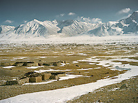 A typical Afghan Kyrgyz winter settlement in the Afghan Pamir mountains, near Qyzyl Qorum. <br /> Winter expedition through the Wakhan Corridor and into the Afghan Pamir mountains, to document the life of the Afghan Kyrgyz tribe. January/February 2008. Afghanistan