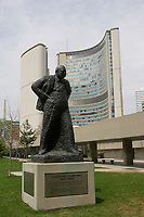 Toronto (ON) CANADA,  April , 2008-.statue of Winston Churchill (1874-1965) in front of Toronto City Hall....