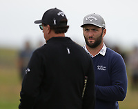 14th July 2021; The Royal St. George's Golf Club, Sandwich, Kent, England; The 149th Open Golf Championship, practice day; Jon Rahm (ESP) with playing partner Phil Mickelson (USA)
