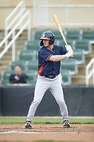 Greg Cullen (18) of the Rome Braves at bat against the Kannapolis Intimidators at Kannapolis Intimidators Stadium on April 7, 2019 in Kannapolis, North Carolina. The Intimidators defeated the Braves 2-1. (Brian Westerholt/Four Seam Images)