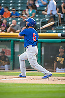 Tommy La Stella (5) of the Iowa Cubs at bat against the Salt Lake Bees in Pacific Coast League action at Smith's Ballpark on August 21, 2015 in Salt Lake City, Utah. The Bees defeated the Cubs 12-8. (Stephen Smith/Four Seam Images)