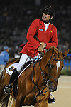 8 October 2010: Philippe Le Jeune looks to the scoreboard to make sure his performance aboard Vigo D'Arsouilles during the Show Jumping Individual Championship Qualifiers in the World Equestrian Games in Lexington, Kentucky was en ough to qualify for the Rolex Top Four